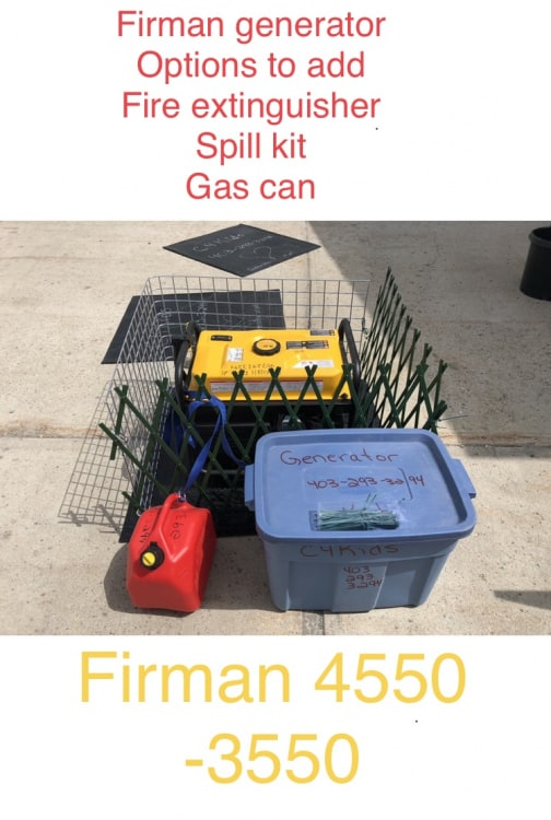 Fire extinguisher/ Spill Kit/ Mat / Fence - For Generator!